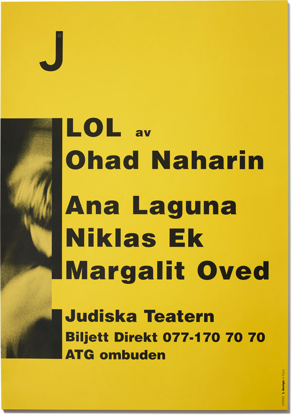 Poster for LOL at the Jewish Theatre in Stockholm, Sweden